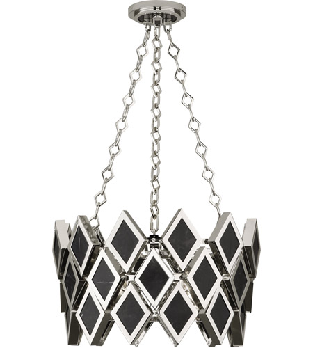 Robert Abbey S423 Edward 3 Light 18 inch Polished Nickel with Black Marble Pendant Ceiling Light, Black Marble Accents photo thumbnail
