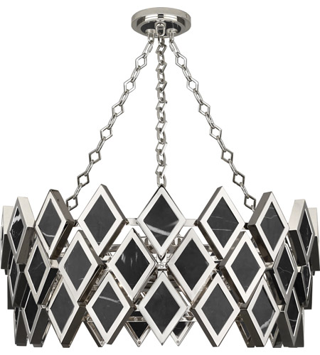 Robert Abbey S424 Edward 4 Light 26 inch Polished Nickel with Black Marble Chandelier Ceiling Light photo