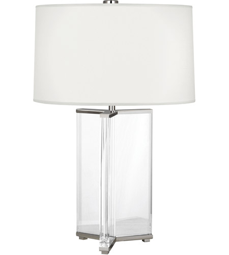 Robert Abbey S471 Fineas 28 Inch 150 Watt Polished Nickel Table Lamp  Portable Light In Ascot White Fabric