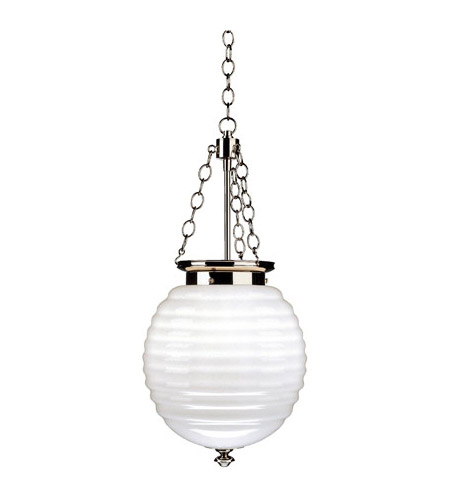 Robert Abbey S616 Beehive 3 Light 11 inch Polished Nickel Pendant Ceiling Light in White Cased Glass