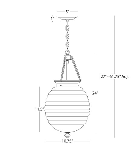 Robert Abbey S616 Beehive 3 Light 11 inch Polished Nickel Pendant Ceiling Light in White Cased Glass S616_line.jpg