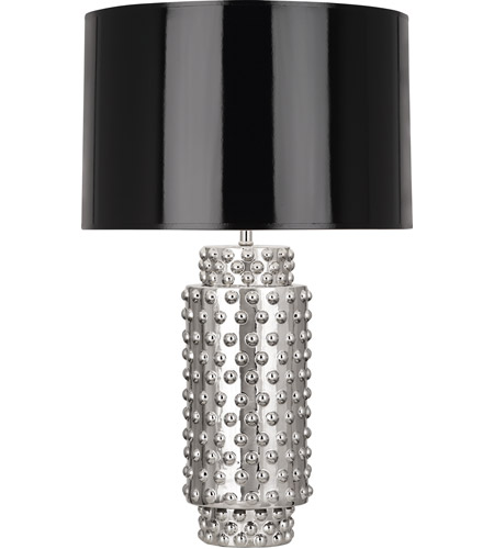 Robert Abbey S800B Dolly 28 inch 150 watt Nickel Metallic Glaze Table Lamp Portable Light in Black Parchment, Nickel Glaze