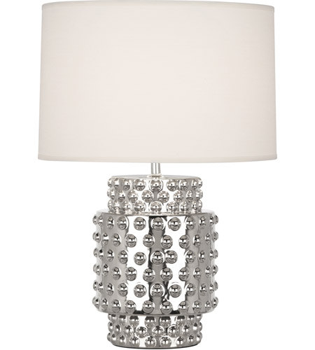 Robert Abbey S801 Dolly 21 inch 150 watt Nickel Metallic Glaze Table Lamp Portable Light in Fondine Fabric, Nickel Glaze