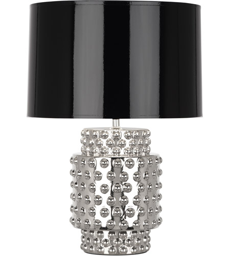 Robert Abbey S801B Dolly 21 inch 150 watt Nickel Metallic Glaze Accent Lamp Portable Light in Black with Silver
