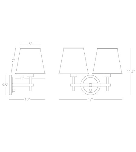 Robert Abbey S885 Aiden 2 Light 17 inch Polished Nickel Wall Sconce Wall Light S885_line.jpg