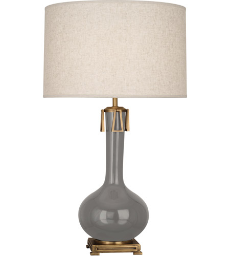 Robert Abbey ST992 Athena 32 inch 150 watt Smoky Taupe with Aged Brass Table Lamp Portable Light in Smokey Taupe