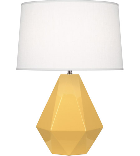 Robert Abbey SU930 Delta 23 inch 150 watt Sunset Yellow Table Lamp Portable Light in Oyster Linen