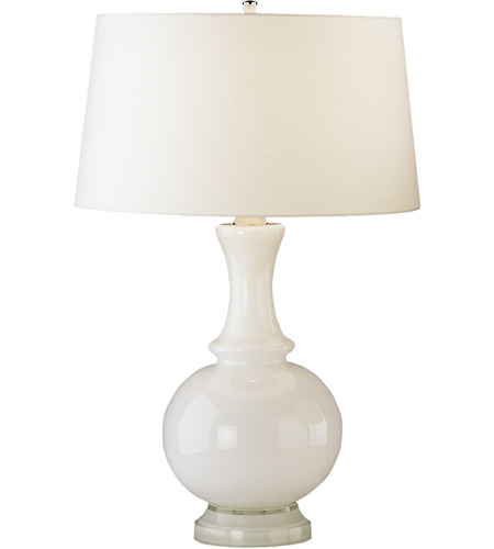 Robert Abbey W3323 Glass Harriet 27 inch 150 watt White Glass with Polished Nickel Table Lamp Portable Light photo