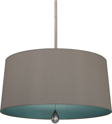 Robert Abbey WB331 Williamsburg Custis 3 Light 26 inch Polished Nickel Pendant Ceiling Light in Carter Gray With Mayo Teal photo