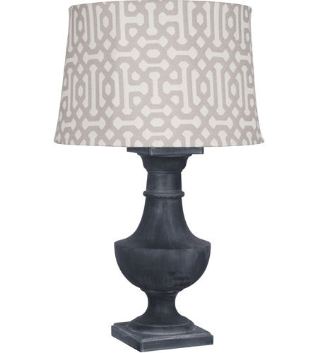 Robert Abbey WZ48G Bronte Al Fresco 39 inch 100 watt Weathered Zinc Painted Over Poly Resin Table Lamp Portable Light in Gray Jacquard Sunbrella