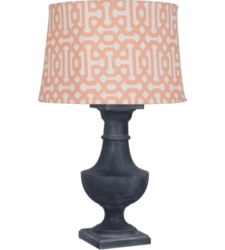 Robert Abbey WZ48R Bronte Al Fresco 39 inch 100 watt Weathered Zinc Painted Over Poly Resin Table Lamp Portable Light in Orange Jacquard Sunbrella