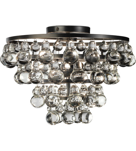 Robert Abbey Z1002 Bling 2 Light 17 inch Deep Patina Bronze Flushmount Ceiling Light