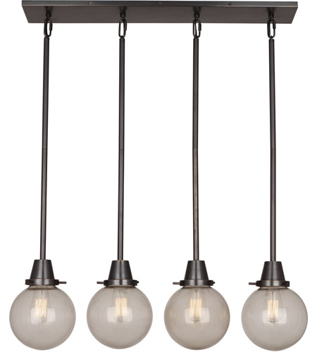 Robert Abbey Z245 Rico Espinet Tyler Globe 4 Light 32 Inch Deep Patina Bronze Chandelier Ceiling In Topaz Seeded Gl