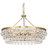 Bling 6 Light 35 inch Antique Brass Chandelier Ceiling Light