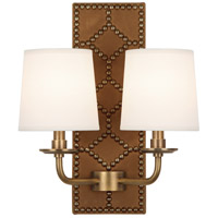 Robert Abbey 1030 Williamsburg Lightfoot 2 Light 14 inch English Ochre Leather with Aged Brass Wall Sconce Wall Light