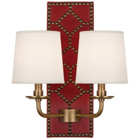 Robert Abbey 1031 Williamsburg Lightfoot 2 Light 14 inch Dragons Blood Leather with Aged Brass Wall Sconce Wall Light