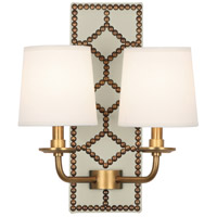 Robert Abbey 1032 Williamsburg Lightfoot 2 Light 14 inch Bruton White Leather with Aged Brass Wall Sconce Wall Light
