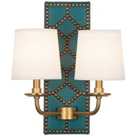 Robert Abbey 1033 Williamsburg Lightfoot 2 Light 14 inch Mayo Teal Leather with Aged Brass Wall Sconce Wall Light