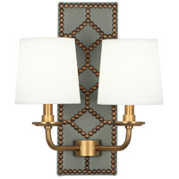 Robert Abbey 1034 Williamsburg Lightfoot 2 Light 14 inch Carter Grey Leather with Aged Brass Wall Sconce Wall Light