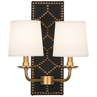Robert Abbey 1035 Williamsburg Lightfoot 2 Light 14 inch Blacksmith Black Leather with Aged Brass Wall Sconce Wall Light