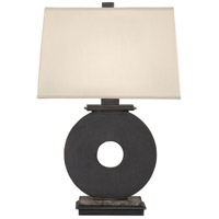 Robert Abbey 123 Tic-tac-toe 23 inch 150 watt Deep Patina Bronze Table Lamp Portable Light in Pale Shell Dupioni
