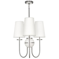 Robert Abbey 1419 Fineas 3 Light 15 inch Dark Antique Nickel with Alabaster Stone Chandelier Ceiling Light in Ascot White