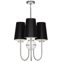 Robert Abbey 1419B Fineas 3 Light 15 inch Dark Antique Nickel with Alabaster Stone Chandelier Ceiling Light in Black With White