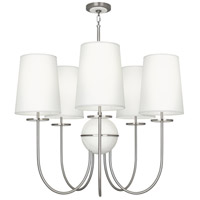 Robert Abbey 1423 Fineas 5 Light 15 inch Dark Antique Nickel with Alabaster Stone Chandelier Ceiling Light in Ascot White