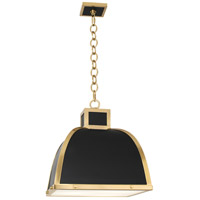 Robert Abbey 1444 Ranger 3 Light 18 inch Matte Black Painted with Modern Brass Pendant Ceiling Light