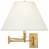Kinetic Brass 23 inch 150 watt Antique Brass Swing Lamp Wall Light in Ascot Bone Linen