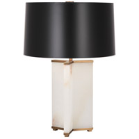 Robert Abbey 1514B Fineas 28 inch 150 watt Alabaster Stone with Aged Brass Table Lamp Portable Light in Black With White