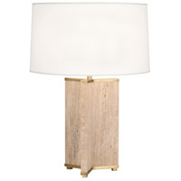 Robert Abbey 1516 Fineas 28 inch 150 watt Travertine Stone with Aged Brass Table Lamp Portable Light in Fondine