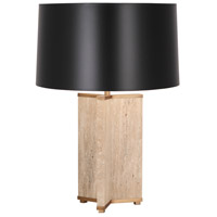 Robert Abbey 1516B Fineas 28 inch 150 watt Aged Brass with Travertine Stone Table Lamp Portable Light in Black With White