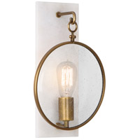 Robert Abbey 1518 Fineas 1 Light 9 inch Alabaster Stone with Aged Brass Wall Sconce Wall Light photo thumbnail