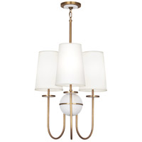 Robert Abbey 1519 Fineas 3 Light 23 inch Aged Brass with Alabaster Stone Chandelier Ceiling Light in Fondine Fabric