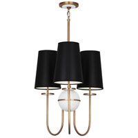Robert Abbey 1519B Fineas 3 Light 15 inch Aged Brass with Alabaster Stone Chandelier Ceiling Light in Black With White