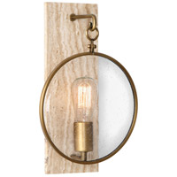 Robert Abbey 1520 Fineas 1 Light 9 inch Travertine Stone with Aged Brass Wall Sconce Wall Light photo thumbnail