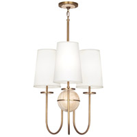 Robert Abbey 1521 Fineas 3 Light 23 inch Aged Brass with Travertine Stone Chandelier Ceiling Light in Fondine Fabric