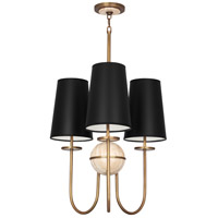 Fineas 3 Light 15 inch Aged Brass with Travertine Stone Chandelier Ceiling Light in Black With White