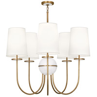 Fineas 5 Light 35 inch Aged Brass Chandelier Ceiling Light in Fondine Fabric, Alabaster Stone Accent