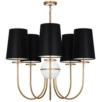 Robert Abbey 1523B Fineas 5 Light 15 inch Aged Brass with Alabaster Stone Chandelier Ceiling Light in Black With White, Alabaster Stone Accent