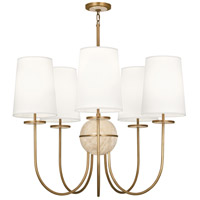 Fineas 5 Light 35 inch Aged Brass Chandelier Ceiling Light in Fondine Fabric, Travertine Stone Accent