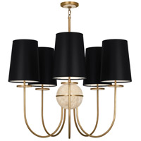 Fineas 5 Light 35 inch Aged Brass Chandelier Ceiling Light in Black Parchment, Travertine Stone Accent