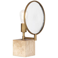 Robert Abbey 1527 Fineas 15 inch 150 watt Aged Brass Accent Lamp Portable Light in Travertine Stone