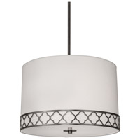 Robert Abbey 1544 Addison 3 Light 22 inch Patina Nickel Pendant Ceiling Light in Pearl Dupioni Fabric  thumb