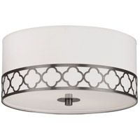 Robert Abbey 1545 Addison 2 Light 18 inch Patina Nickel Flush Mount Ceiling Light in Pearl Dupioni Fabric
