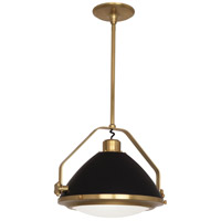 Apollo 1 Light 22 inch Antique Brass with Matte Black Painted Pendant Ceiling Light