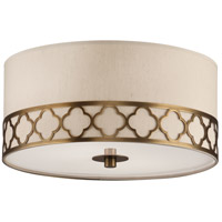 Robert Abbey 1575 Addison 2 Light 18 inch Weathered Brass Flush Mount Ceiling Light in Taupe Dupioni Fabric