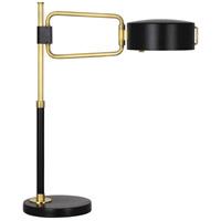Robert Abbey 1598 Simon 24 inch 60 watt Satin Black with Modern Brass Table Lamp Portable Light