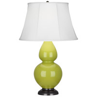 Robert Abbey 1643 Double Gourd 31 inch 150 watt Apple Table Lamp Portable Light in Deep Patina Bronze Ivory Silk